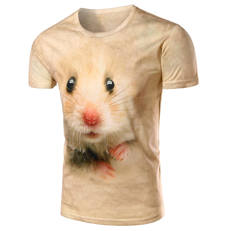 2016 summer new 3D lifelike Meng pet mice printing sportsman essential fashion explosion models short-sleeved T-shirt LCS260(China (Mainland))