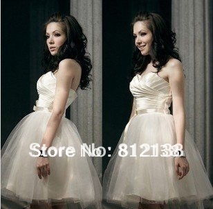 Free shipping 2013 New Bridesmaid dresses Short Gown Bride Toast Clothing Champagne Tee dress formal Brides'dress HS-C501