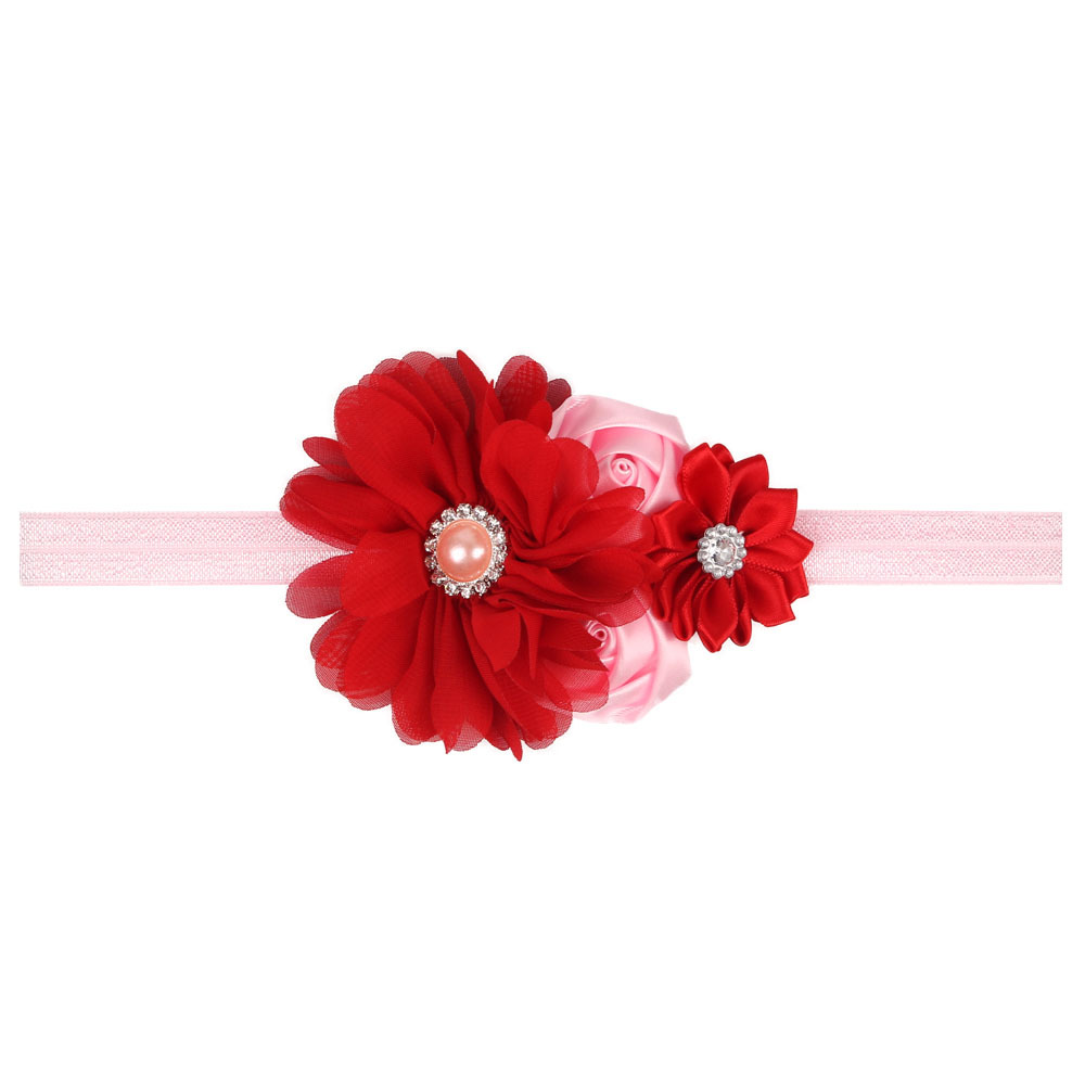 Chiffon Flower Girl Headband With Layered Ribbon Matching Pearl Rhinestone In Center Snowflake Headband H012(China (Mainland))