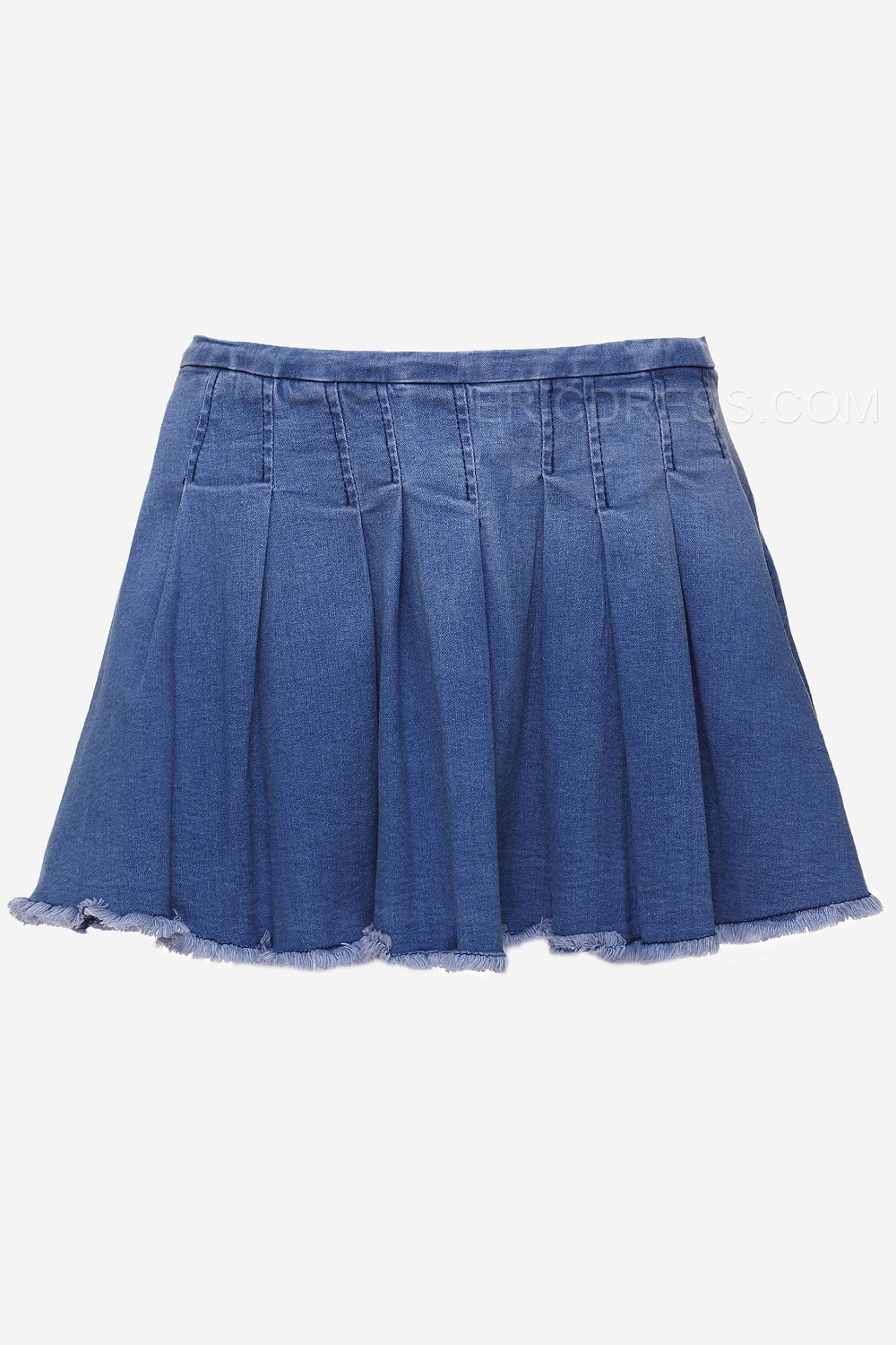 blue lace patchwork pleated mini skirt in skirts