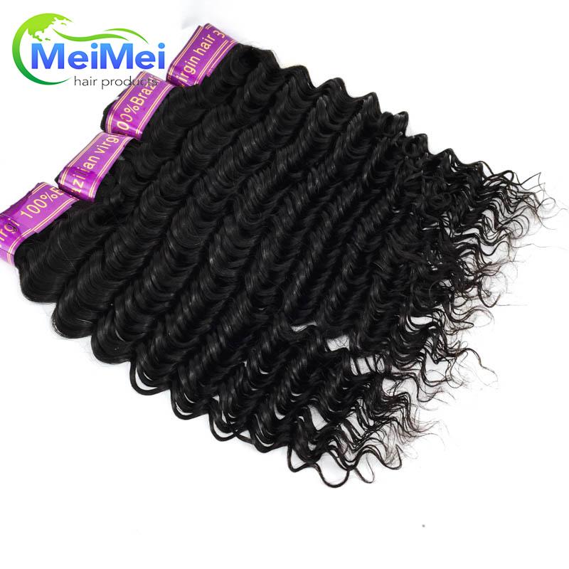 7A 4 Pcs Brazilian Virgin Hair Deep Wave 16 Inch Original Brazilian Deep Curly Human Hair Weave Bundles 1B Unprocessed Raw Hair