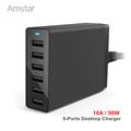 6 Port USB Charging Station 10A 50W Multi Port USB Desktop Charger Mobile Charging Station for