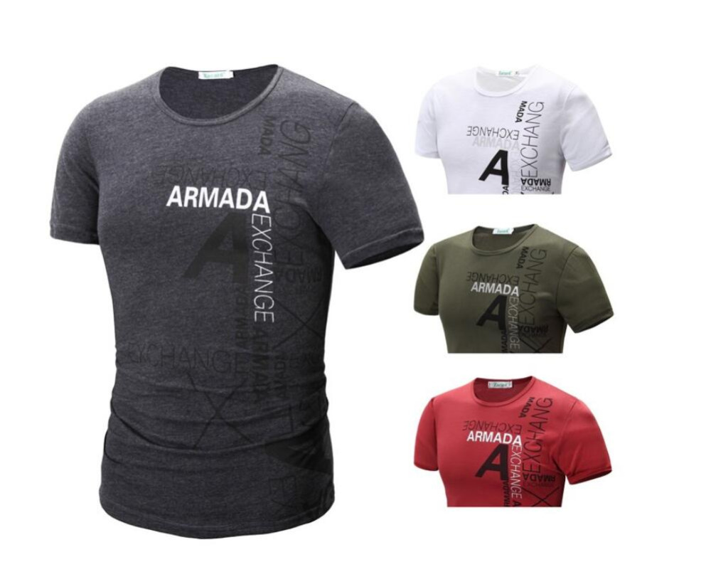 2016 new men's short sleeve Europe and the United simple letters printed round neck short sleeve T-shirt men 4 colors(China (Mainland))