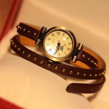 Hot sale fashion vintage rivet quartz watch long leather strap watches female women dress watch