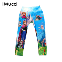 iMucci Kristoff Olaf Cartoon Leggings For Girl Colorful Pantyhose Printed Kids Pants Cute Girls 5-8 Years Children Trousers(China (Mainland))
