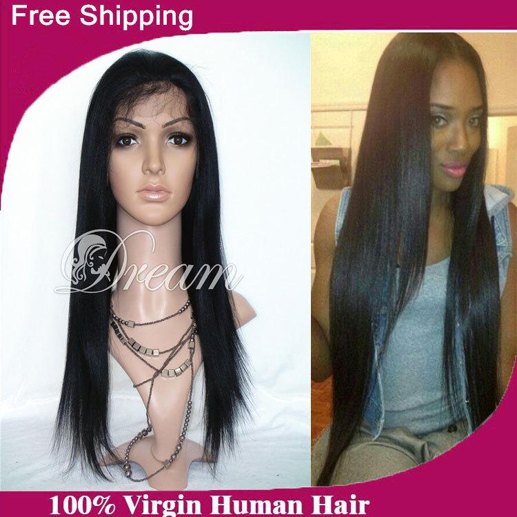 Italian Yaki Full Lace Wig Brazilian Virgin Hair Yaki Straight Lace Front Wig Glueless Full Lace Human Hair Wig For Black Women(China (Mainland))