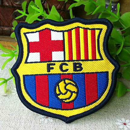FCB Football Fabric Woven iron on Patches for Clothes with Merrowed Border Edge / Designed by Reserv .d.leipziger Communalgarde(China (Mainland))