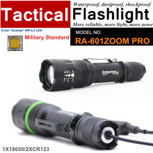 RA-601ZOOM PRO CREE XM-L2 COOL WARM WHITE Military Standard Tactical Flashlight CR123 with Rail Mount,Tail-wire Pressure Switch(China (Mainland))