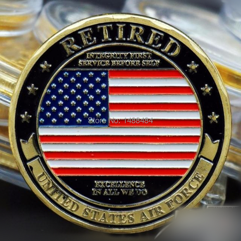 30 pcs/lot Retired Air force United States coins American gold plated gift products(China (Mainland))