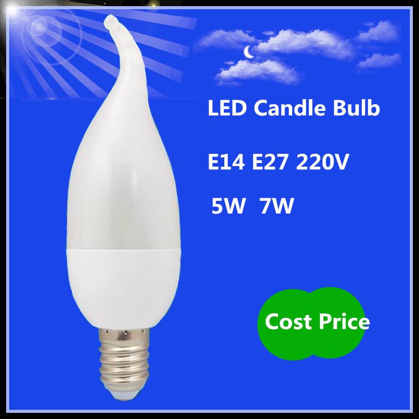 1X LED candle bulb light E27 E14 5w 7w SMD 2835 Corn Bulb 220V PC flame shape lamparas crystal Chandelier LED lamp Spotlight(China (Mainland))