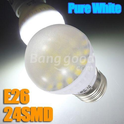 Super Deal E26 6W Pure White Medium Base 24 SMD 5050 LED Energy Saving Bulb 110V(China (Mainland))