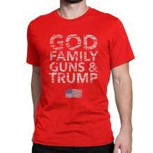 Dieu famille pistolets et Trump Pro Donald T-Shirt pour hommes manches courtes drôle T-Shirt O cou 100% coton vêtements marque t-shirts(China)