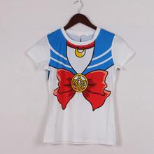 2016 new Hot Sailor moon harajuku t shirt women cosplay costume top kawaii fake sailor t shirts girl new Free Shipping(China (Mainland))