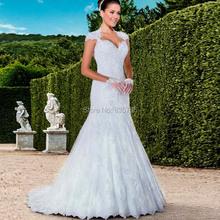 Cap Sleeve Sweetheart Neckline Mermaid lace wedding Gown 2016 Bride Dresses Romantic maternity robe de mariage(China (Mainland))