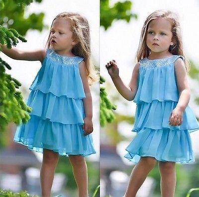 2016 Summer Baby Kids Girls Dress Sleeveless Solid Blue Layered Dress Princess Chiffon Sundress Beach Tiered Party Dresses 2-7Y(China (Mainland))