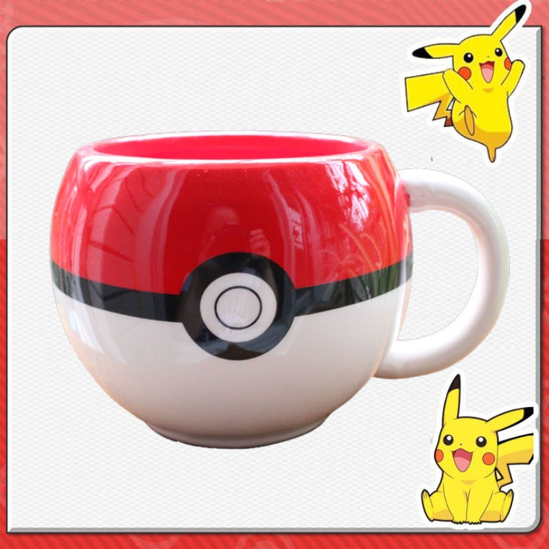 Pokemon go Poke Ball Pikachu mug Handgrip Ceramic Coffee Mug tea Cup for boy girl surprise gift(China (Mainland))