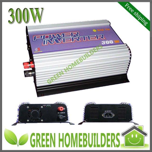Free Shipping , CE certificate, MPPT Function Solar On Grid Tie Inverter 300w, DC 10.8-30V/22-60V input