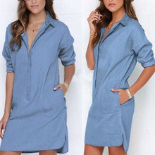 Women Lapel Denim Jean Shirt Botton Tops Blouse Casual Loose Tunic Mini Dresses