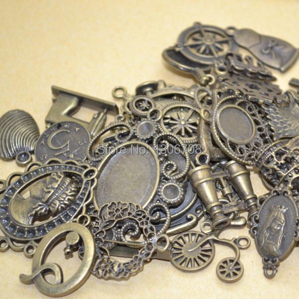 Mix 100pcs pattern charm metal DIY jewelry making