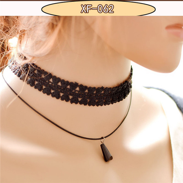 New lace chokers necklace evening party lady jewelry pendant fake collar Victorian Crystal Tassel Black Lace Choker Collar(China (Mainland))