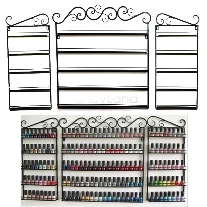 5 Layers 3 PCS Set Free shipping Hanging Wrought Iron art Nail Polish Wall Rack Display stand storage Holds shelf 170 Bottles 31<br><br>Aliexpress