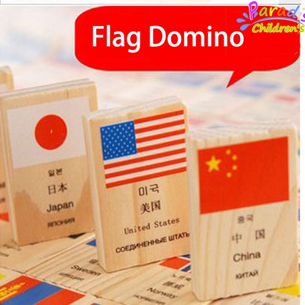 100Pcs/lot Child Country flag Domino toys wooden cognitive toys Imagination creativity  logical develop toys montessori toys <br><br>Aliexpress