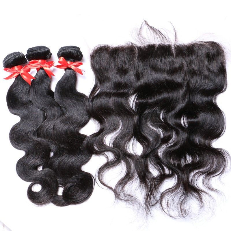 body wave lace frontal closure with bundles (4)