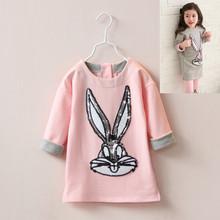 2015 Autumn Girl Sweatshirts Cartoon Rabbit Head Paillette Pullovers Cotton Long Sweatshirt Children Clothing Tops !(China (Mainland))