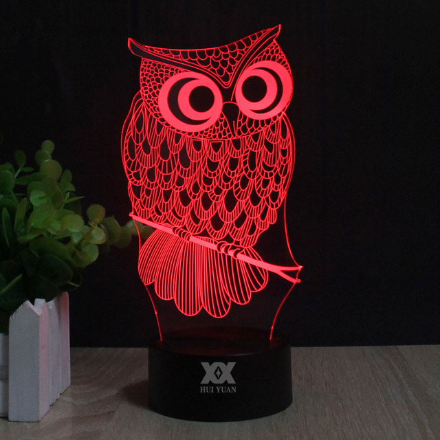 OWL LED 3D Night Light RGB Changeable Mood Lamp