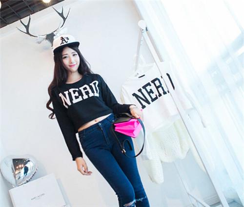 Thin women hoodies sweatshirts letters printing sweatshirt women sport hoodies short hoodies women 2015 clothing free shipping(China (Mainland))