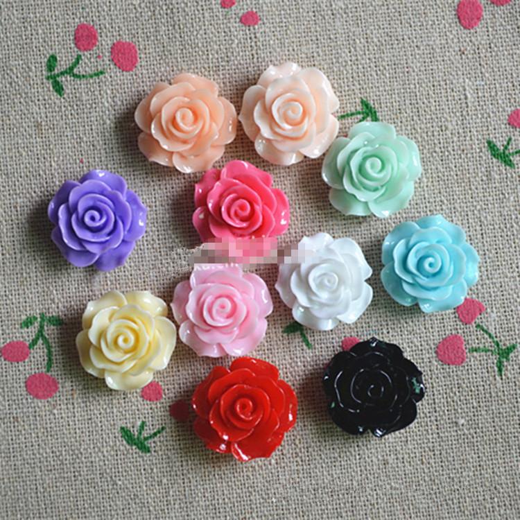 18mm 8pcs/lot mix DIY Resin rose flowers Flatback Cabochon Scrapbook Jewelry Fit Mobile phone Headwear Embellishment(China (Mainland))