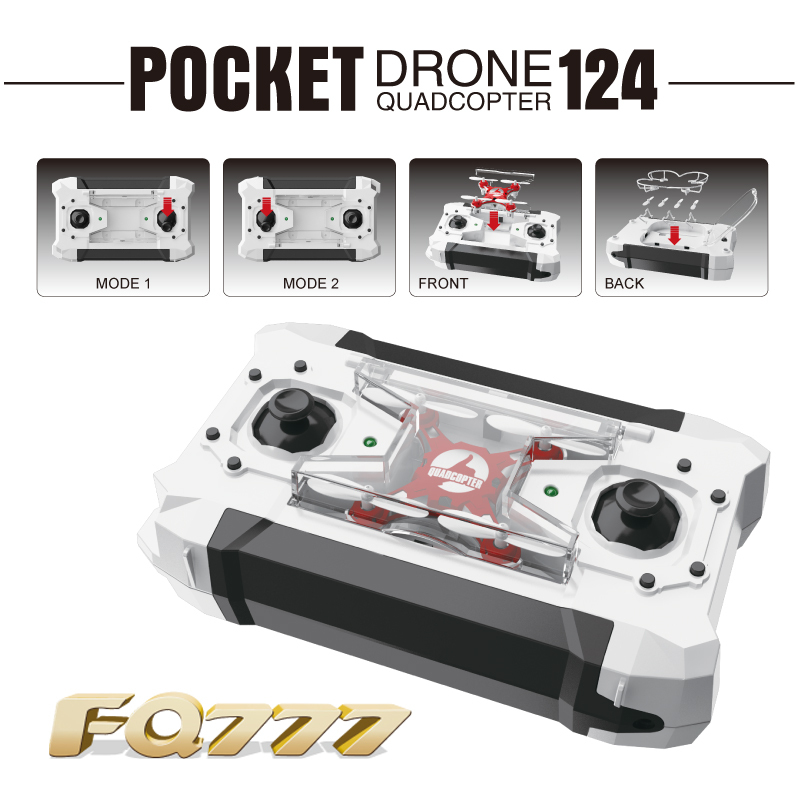 FQ777-124 Mini Pocket Drone 4CH 6Axis Gyro Quadcopter With Switchable Controller RTF RC Professional Dron Quadrocopter Copters