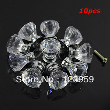 Free Shipping 10pcs/lot Clear Acrylic Door Pull Knob Drawer Cabinet Cupboard Handle 26mm Hardware