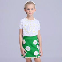 Girls Dresses Summer Kids Clothes Brand Designer Children Clothing Set Vetement Fille Toddler Girl Little Daisy Embroidery 2 Pcs
