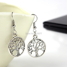 New Fashion Jewelry Vintage Tibetan Silver Life Tree Drop Earrings Best Friends Gift For Women Birthday Party Free Shipping(China (Mainland))