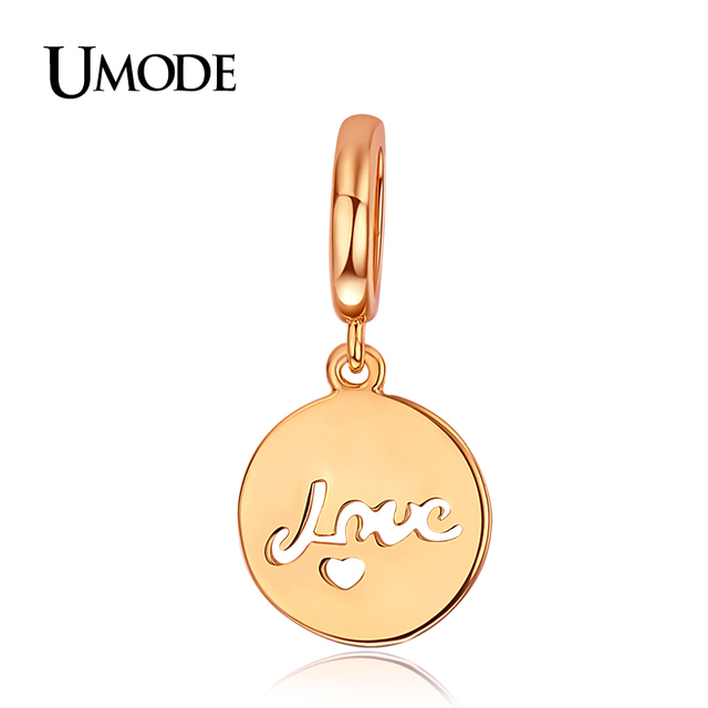 Umode письма любовь мини в форме сердца монета форме розового золота DIY подвески ...