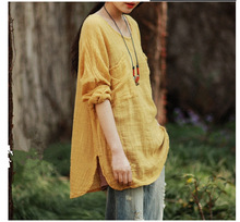 Spring New Arrival Fashion 2015 Linen Tops Women Long Sleeve Blouses Lady Pullover Solid Color Loose Faux Blouses