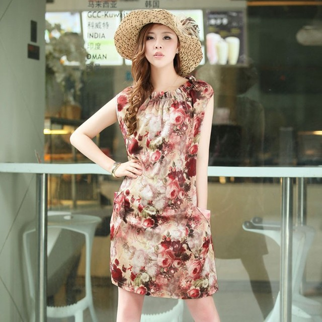 Free shipping 2013 summer o-neck with sashes print sleeveless women's casual dress 713