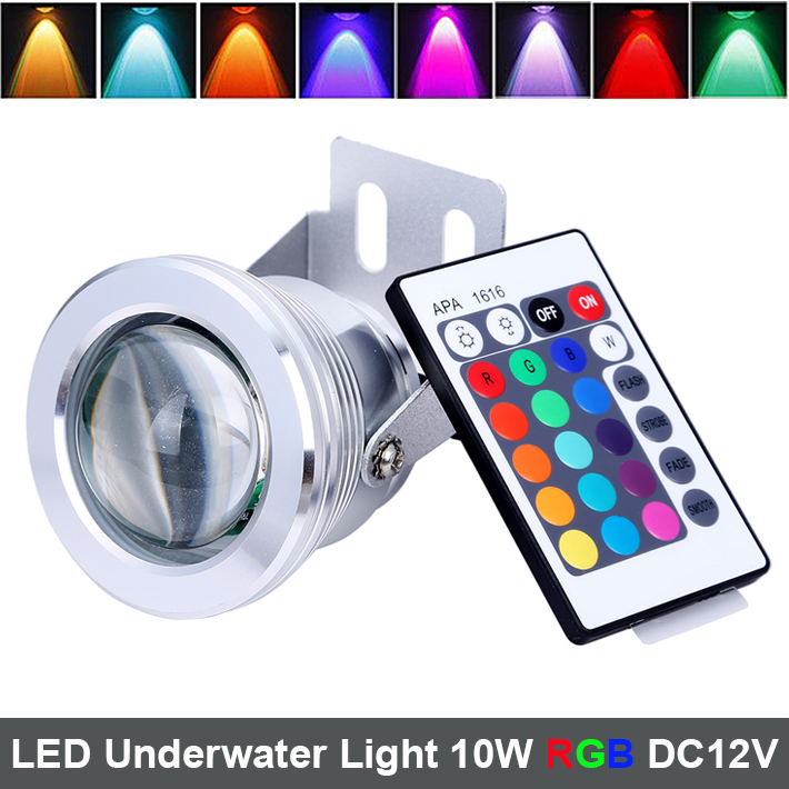 10W 12V RGB LED Underwater Light with Lens 1000LM Waterproof IP68 Fountain Aquarium Pond Pool Lamp with IR Remote Controller(China (Mainland))
