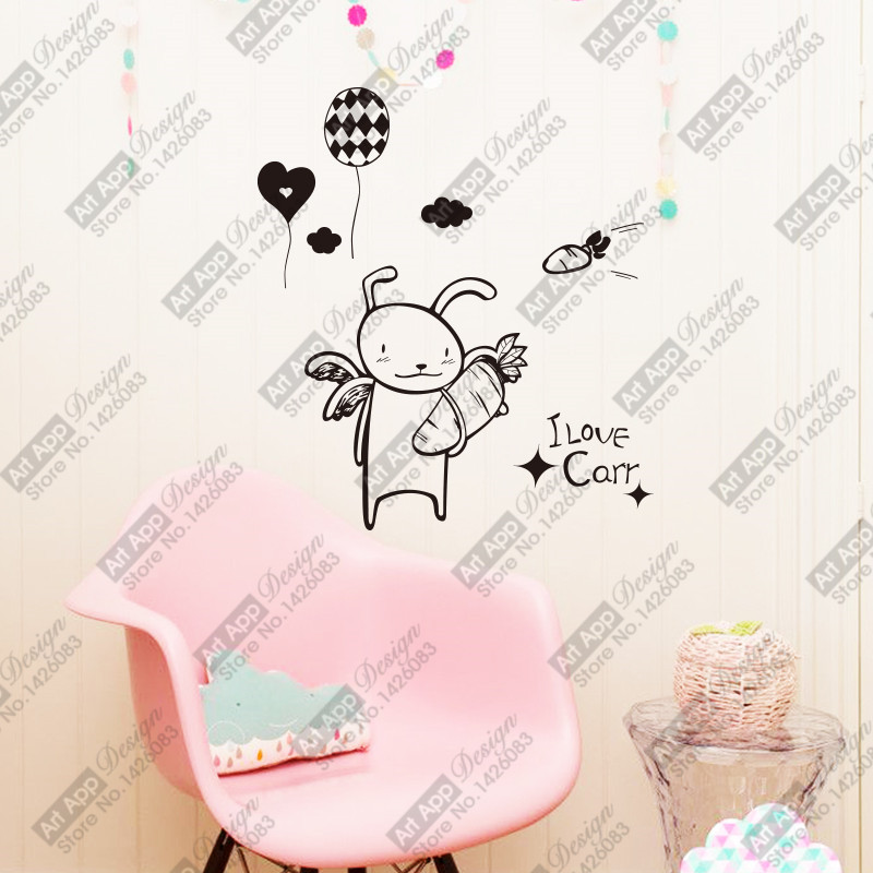 Art app 2015 popular environmental removable waterproof home decor cute animal rabbit wall sticker for kids  or kindergarten