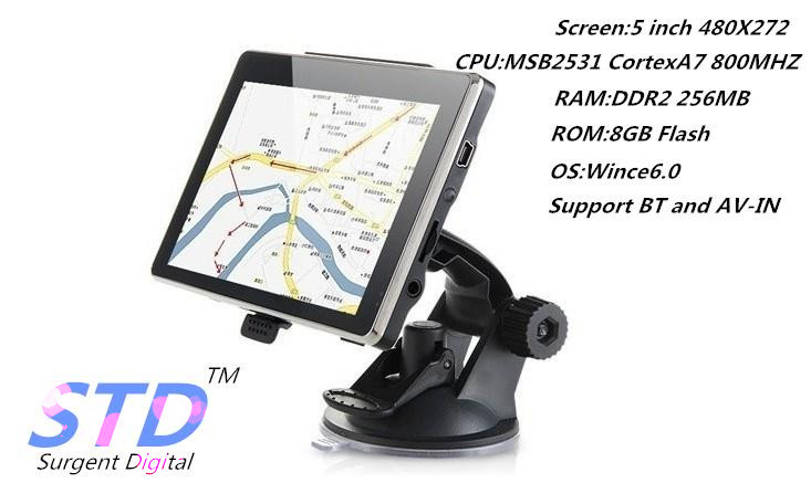 5 inch portable TFT-LCD screen GPS Navigation with BT+AV-IN,Car Navigation support Multi Language/maps all countries(China (Mainland))