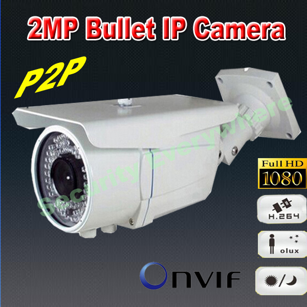 "free shipping 1/4"" COMS ONVIF 1080P 3.6mm lens 2 Megapixel Bullet P2P Full HD Cloud IR Outdoor Three Streaming IP camera(China (Mainland))"