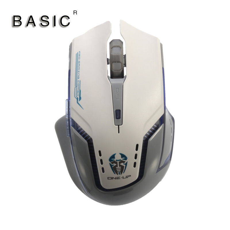 BASIC M-780GT Gray White Multi Function Game Ergonomic Design Optical Mouse 1600 DPI With LED Light Comfotable Mice For Laptop P(China (Mainland))