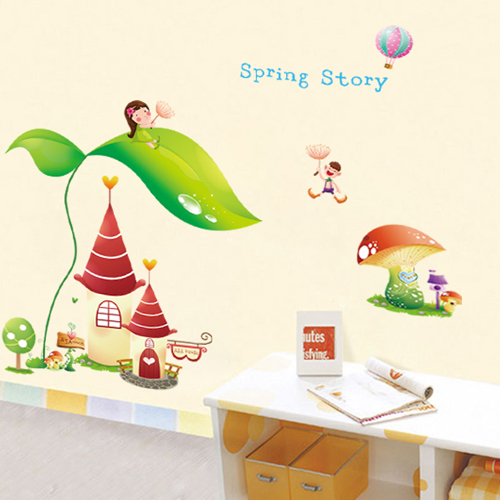 The new house music stickers nursery cartoon children's room bedside decorative backdrop stickers Dream Castle(China (Mainland))