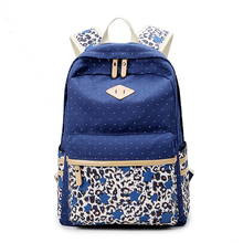 2016 Women Dotted Backpack Canvas Student Book Bags Teenagers School Backpack Woman Travel Laptop Bags Printing Rucksack JXY490(China (Mainland))