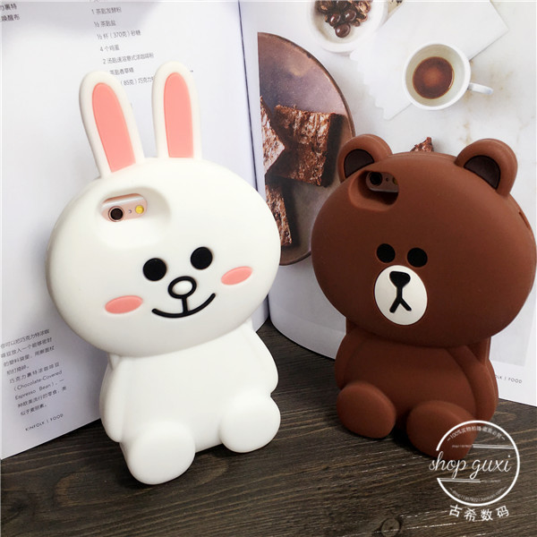 Luxury 3d cartoon bear & rabbit soft silicone case back rabbit protective mobile phone cover skin for iPhone 5 5s 6 6s plus(China (Mainland))