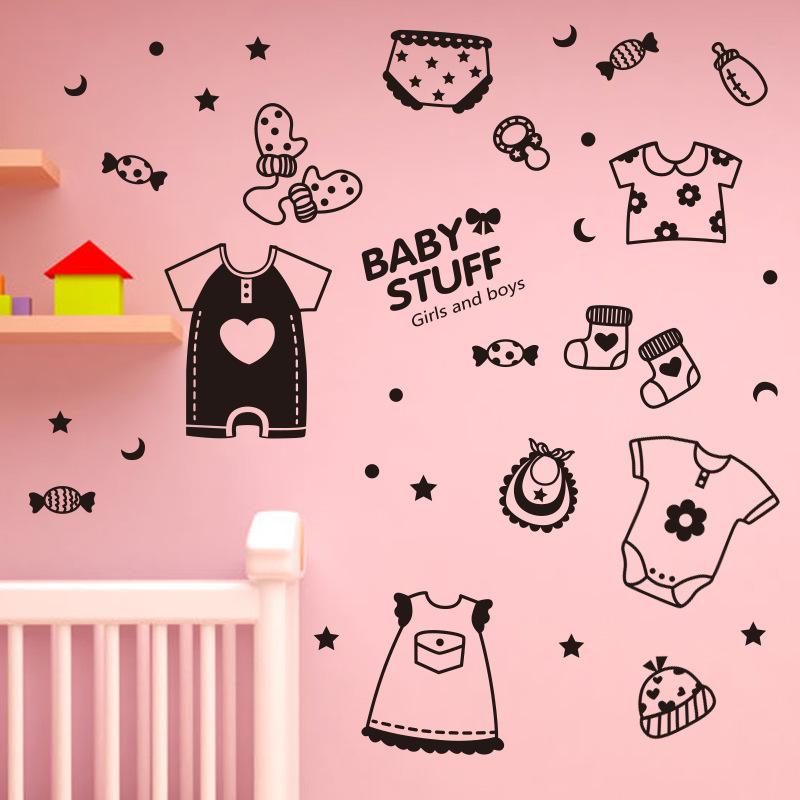 Cartoon Cute Black Baby Stuff Candy Mural Vinyl Art Wall Sticker Cute Kids' Room Nursery Children's Clothing Store Decoration(China (Mainland))