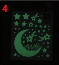DIY зеленый свет светящиеся звезды и луна стикер на стену s домашний декор сверкающий в темноте Звезда стикер дети спальня потолочное украшен...(China)