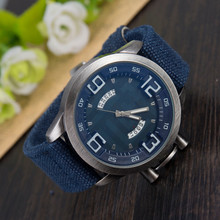 LZ Luxury Brand Vintage Denim Band Wristwatch 5 Colors Complete Calendar Sport Quartz Watch Men Watches 2016 W73