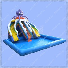 Giant Inflatable Water Slide,Commercial Inflatable Slide with Big Pool, Inflatable Pool Slide(China (Mainland))